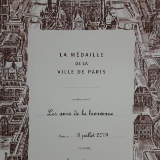 Médaille de la ville de Paris, 3 juillet 2019